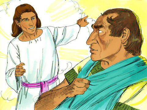 One day, at about three in the afternoon, Cornelius had a vision of an angelof God. 'Cornelius!' said the angel. Cornelius, feeling afraid replied, 'What is it, Lord?' 'Your prayers and gifts to the poor have been an offeringbefore God. Send men to Joppato get Peter who is staying with Simon the tanner who lives by the sea.' – Slide 4