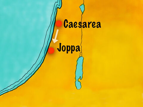 Joppa was about 30 miles (48 kilometers) down the coast. The messengers stopped to rest overnight and continued their journey the next day. Meanwhile, Peter was resting on the rooftop of Simon's house at noon when he fell into a trance. – Slide 6