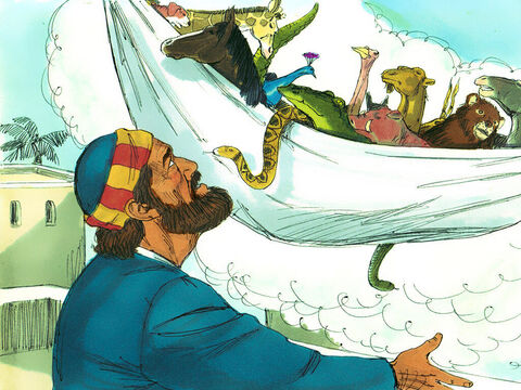 Peter saw heaven open and a large sheet lowered to the ground by its corners. The sheet was full of animals, reptiles and birds that the Jews considered unclean and would not eat. A voice commanded him, 'Get up, Peter. Kill and eat.' 'Surely not, Lord!'Peter replied. 'I have never eaten anything impure or unclean.' – Slide 7