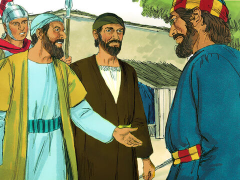 While Peter was puzzling out the meaning of the vision, the messengers from Cornelius arrived. The Holy Spirit told Peter to go and meet them. 'We have come from Cornelius the centurion, a righteous and God-fearing man,who is respected by all the Jewish people. A holy angel told him to ask you to come to his house so that he could hear what you have to say.' Peter invited them into the house to stay as guests. – Slide 9