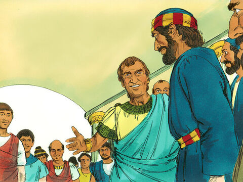 Cornelius had gathered his relatives and close friends. When Peter arrived, Cornelius knelt down before him but Peter said, 'Stand up, I am only a man.' – Slide 11