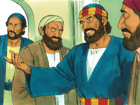 The Jewish Christians with Peter were amazed that people who were not Jewish had received the Holy Spirit. Peter then baptised the new believers with water in the name of Jesus Christ. At their invitation he stayed with them for a few days to help and encourage them. – Slide 16