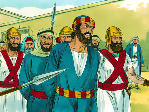 Acts chapter 4: The captain of the Temple guard, the priests and the Sadducees were alarmed to hear Peter preaching that Jesus was alive. They seized Peter and John and put them in prison. However, so many people were convinced Jesus had risen from the dead that the number of believers grew to over 5,000. – Slide 4