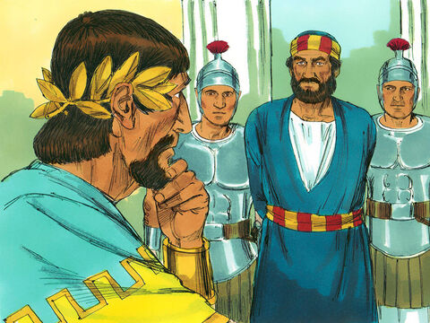 Next, Herod Agrippa had Peter arrested and put in prison. After the Passover Feast Herod intended to put him on trial before the public. Peter was guarded around the clock by four squads of four soldiers. – Slide 2