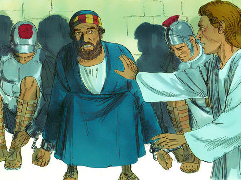 The night before Peter's trial, he was fast asleep chained between two soldiers with guards by the entrance. Suddenly an angelof the Lord appeared, lighting up the cell. He struck Peter on the side and woke him up. 'Quick, get up!' he said, and the chains fell off Peter's wrists. – Slide 4