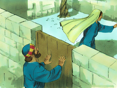 Peter knocked at the outer entrance, and a servant named Rhoda came to answer the door.She recognised Peter's voice and was so overjoyedshe ran back without opening it shouting, 'Peter is at the door!' – Slide 8