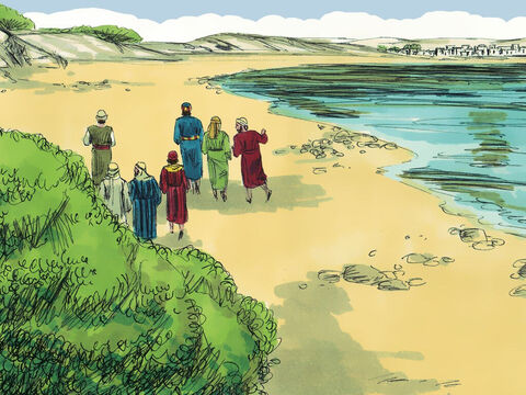 After seeing Jesus had risen from the dead, when He appeared to them in Jerusalem, the disciples went back to Galilee as Jesus had asked them. Peter suggested they go fishing and six others joined him. – Slide 1