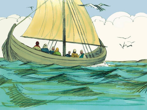 In the boat was Simon Peter, James, John, Thomas, Nathanael and two other disciples. They fished all that night but caught nothing. – Slide 2
