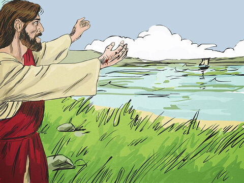 Early the next morning, Jesus appeared on the shore but those in the boat could not see it was Jesus. 'Friends, have you caught any fish?' Jesus asked. <br/>'No,' they replied. – Slide 3