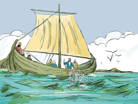 'Throw your net on the right side of the boat and you will find some,' Jesus shouted. They obeyed. – Slide 4