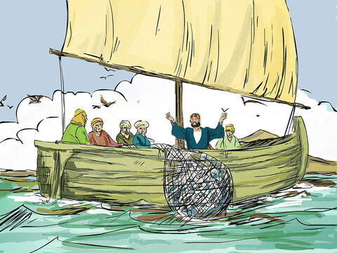 They struggled to haul the net in because of the large number of fish they caught. – Slide 5