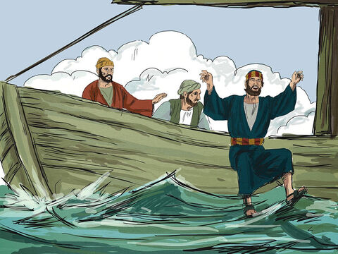 At once, John knew it was Jesus on the shore and shouted, 'It's the Lord.' Immediately, Peter wrapped his outer garment around him and jumped in the water to swim to Jesus. – Slide 6