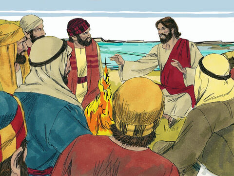 Jesus told them to bring in their catch. They counted 153 large fish. 'Come and have breakfast,' said Jesus and gave them bread and fish to eat. They all knew it was the risen Lord Jesus – the third time they had seen Him alive after He had been crucified. – Slide 8