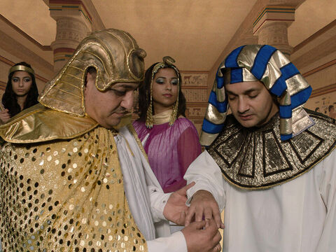 Pharaoh removed from his finger the ring engraved with the royal seal and put it on Joseph's finger. Joseph was granted authority as the second most powerful man in the kingdom. He was a given a fine linen robe, a gold chain and a royal chariot. – Slide 23