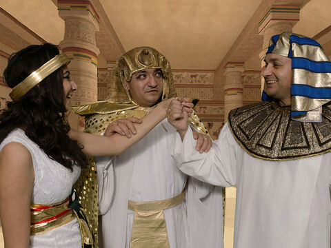 Pharaoh gave Joseph the Egyptian name Zaphenath Paneah and a wife, Asenath. Joseph was now thirty years old with the task of gathering and storing grain in the seven years of plenty. – Slide 24