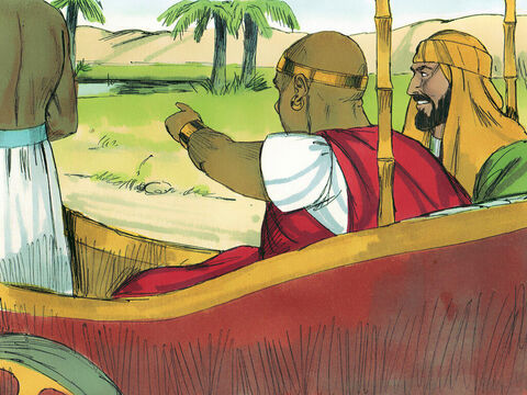 As they travelled along the road the Ethiopian said, 'Look, here is some water. 'What can stop me being baptised?' He gave orders to stop the chariot.' – Slide 9