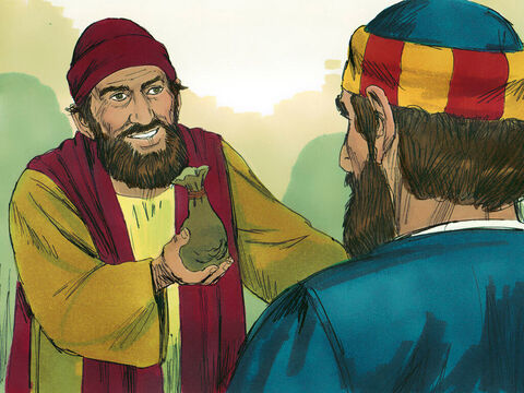 When Simon saw the power of the Holy Spirit at work he offered money to Peter. 'Give me this ability to put my hands on people so they receive the Holy Spirit,' he begged. – Slide 9