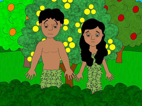 The two of them gathered fig leaves from a nearby tree and made clothes to cover their bodies. – Slide 8