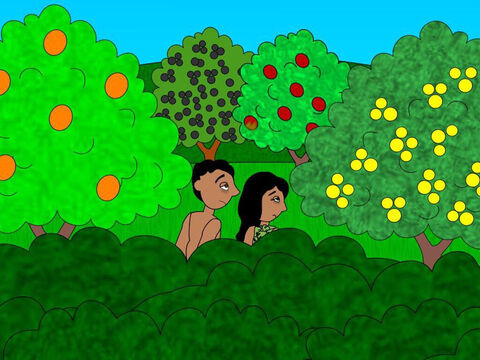 Then Adam and Eve heard the voice of God as He walked in the garden in the cool of the day and they were afraid and hid themselves amongst the trees. God called out to them and Adam answered, 'I am hiding. I was naked and it made me afraid.' – Slide 9