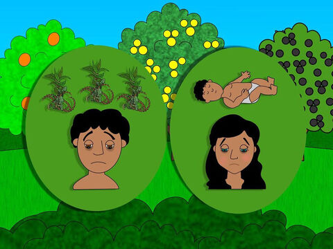 Then God spoke to Eve and said because of her disobedience she would suffer pain when giving birth to children. And to Adam He said that the earth would produce thorns and weeds and it would be very hard work to grow crops. – Slide 12