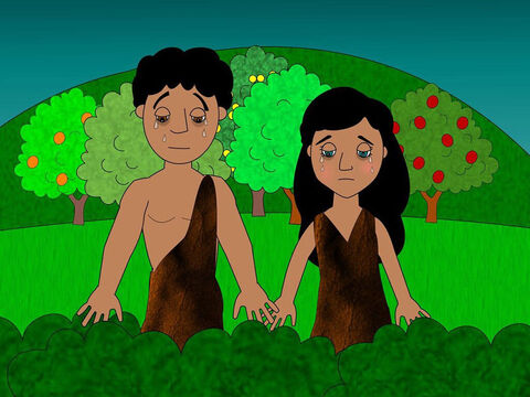 Then God clothed Adam and Eve in animal skins. Then He made them leave the beautiful garden as He did not want them to eat from the tree of life and live forever in their sinfulness. – Slide 13
