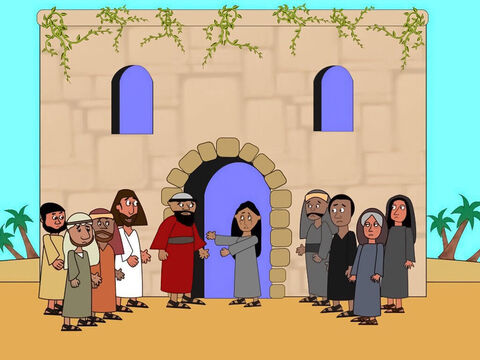 When they arrived at Jairus' house everyone was crying. Jesus made all the people go away. Then He took the girl's parents and His disciples into the room where she lay. – Slide 8
