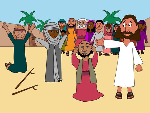 As soon as Jesus arrived on the beach many people were waiting for Him. They listened as He told them stories about God and watched as He healed everyone who was sick. – Slide 2