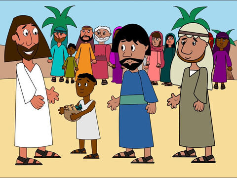 One of the disciples called Andrew brought a little boy to Jesus who had 5 loaves of bread and 2 fishes. 'How can we feed so many people with just this food?' asked Andrew. Jesus smiled and thanked the little boy. – Slide 5