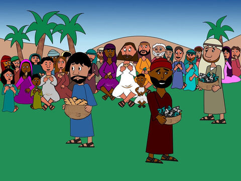 As the disciples gave out the food suddenly they realised that Jesus had done a miracle! There was enough bread and fish for all the people. Everyone had food to eat and they were very happy! – Slide 7