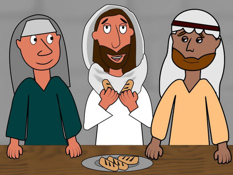 The men invited Jesus to stay with them in a home for the night. As they were eating Jesus took some bread, gave thanks for it and gave it to them. Immediately they recognised it was Jesus but He disappeared from their sight. They rushed back to Jerusalem to tell the other disciples. – Slide 7