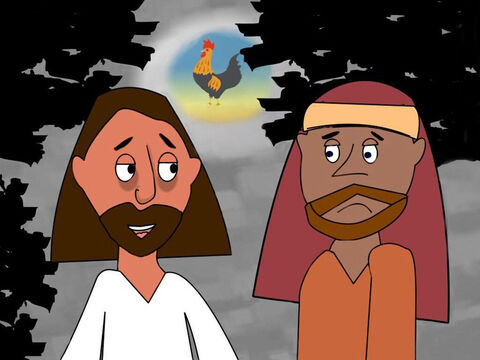 Jesus explained that everyone would run away and leave Him but after He had been raised from the dead He would meet them in Galilee. Peter said he would never act like that but Jesus warned him 'Before the cock crows 3 times you will deny Me.' – Slide 2