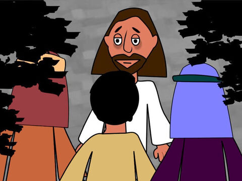 Then Jesus took the disciples to a garden called Gethsemane. He led Peter, James and John away from the others. 'I am very, very sad. Stay here, keep watch and pray,' He said to them. – Slide 3