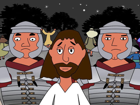 Then Jesus asked the crowd. 'Why have you come to me with clubs and swords like I am a robber? Every day I preached in the temple. Why did you not arrest me then? But all that God has written will come true.' Then all the disciples ran away. – Slide 9
