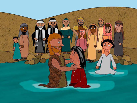 John the Baptist began his work for God in the desert. Everyday people came to him and were baptised in the River Jordan for the forgiveness of their sins. – Slide 1