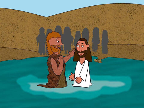 John did not want to baptise Jesus because he knew Jesus had never sinned. But Jesus said to him 'Let it happen because we must do everything God asks us to do.' – Slide 3