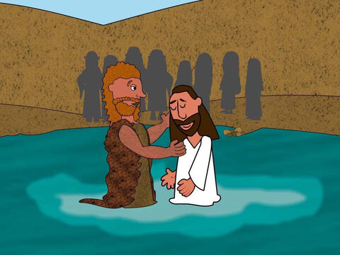 So John obeyed and baptised Jesus in the River Jordan in front of everyone. – Slide 4