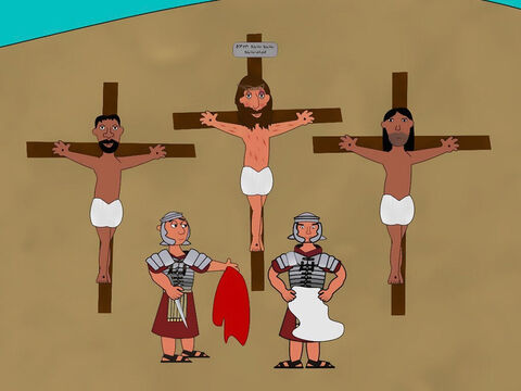 The soldiers crucified Jesus by nailing Him to a cross. Above Him, they put sign on the cross which read, 'Jesus the King of the Jews'. Then they gambled for His clothes. On either side of Jesus two thieves were also crucified. Jesus spoke out to God saying, 'Father forgive them, they don't know what they are doing.' – Slide 1
