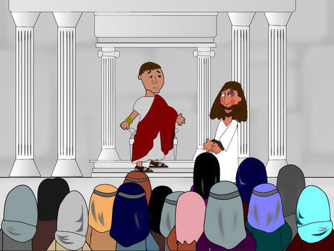 Then the chief priests took Jesus to Pontius Pilate the governor. He asked Jesus lots of questions and when he was finished he told everyone that he could find nothing wrong with Jesus. He declared Him to be innocent. – Slide 4