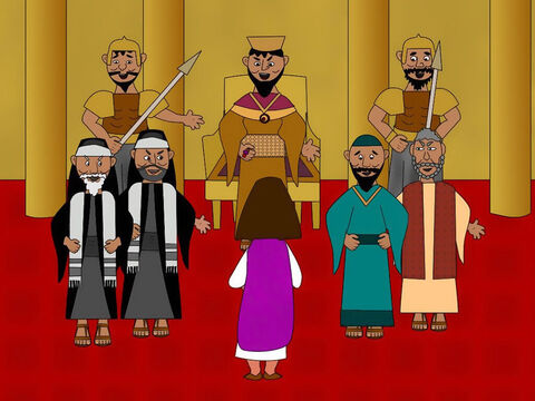Pilate decided to send Jesus to King Herod to be questioned. Herod was glad to see Jesus. He wanted to know about all His miracles. He asked Him lots of questions but Jesus said nothing. Then Herod and all his court and his soldiers made fun of Jesus and put a royal robe round His shoulders pretending He was a king. – Slide 5