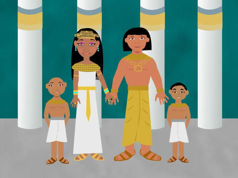 Joseph married an Egyptian woman called Asenath. She gave birth to two boys. The first was called Manasseh and the second was called Ephraim. God blessed Joseph with a lovely family. – Slide 2