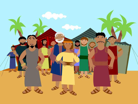 The famine had spread to Canaan and Joseph's family was staving. So Jacob told his sons to go down to Egypt to buy grain. But he would not allow Joseph's younger brother Benjamin to go, as he was afraid that something might happen to him. – Slide 4