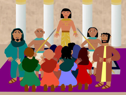 When the 10 brothers arrived to buy grain, Joseph recognised them but did not let on who he was. The brothers bowed down before him not knowing it was their brother Joseph. Joseph accused his brothers of being spies. – Slide 5