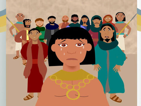 After three days Joseph brought them out of prison. He said they could buy food but they must return to Egypt with Benjamin. At this the brothers became very upset. 'God is punishing us for how we treated Joseph,' they said. When Joseph realised they were talking about him he turned away and began to cry. – Slide 7