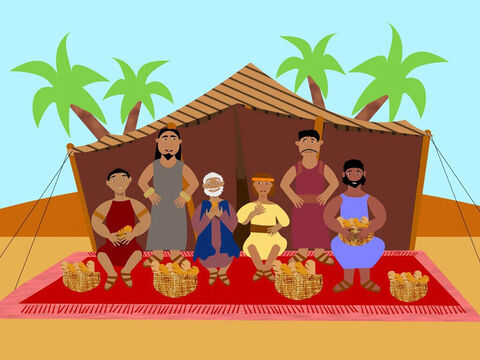 So Jacob and the brothers who had returned from Egypt stayed in Canaan with enough food to eat. Poor Simeon remained a prisoner in Egypt. – Slide 12
