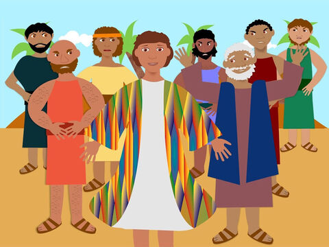Once there was a young man called Joseph and he lived with his father Jacob and 11 other brothers in the land of Canaan. Joseph was the favourite child of his father and one day he was given a coat of many colours. This made the other brothers very jealous and they hated Joseph. – Slide 1