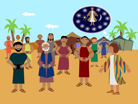 Then Joseph had another dream and he told his brothers and father about it. This time the sun and moon and 11 stars bowed down to Joseph. It made his brothers hate him more than ever and even his father wondered what was meant by the dream. – Slide 3