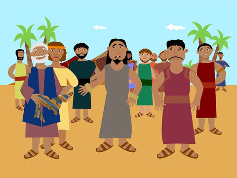 When Reuben returned he was very upset that Joseph had been sold. All of the brothers decided to go to their father with the coat of many colours and say that a wild animal had killed Joseph and all that was left was his coat. Jacob cried and cried and none of his sons were able to comfort him. – Slide 8