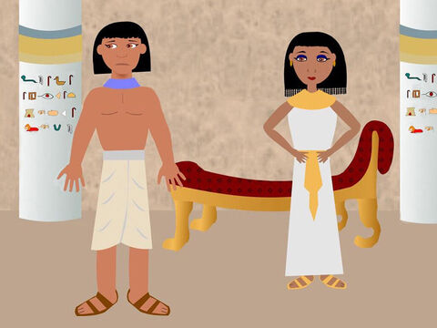 The wife of Potiphar saw how handsome Joseph was and tried to make him love her. But Joseph would not do as she asked because he knew it was wrong and would hurt God and Potiphar. – Slide 3