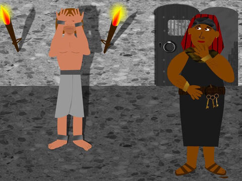 Potiphar's wife was very angry with Joseph and told lies about him so that her husband threw him into prison. Joseph was very sad but God caused the jailor to be kind to Joseph and put him in charge over the other prisoners. – Slide 4