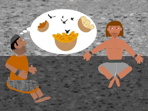 Another prisoner, who had once worked for Pharaoh as a baker, also asked Joseph to explain his dream. He had seen 3 baskets of baked food with one on his head. The birds came and ate the food from the basket on his head. Joseph sadly explained that this meant the baker would be executed in 3 days. – Slide 6